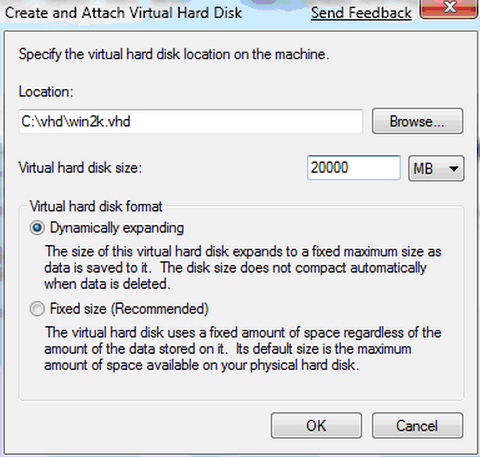 specify the VHD location