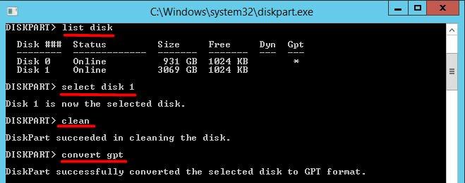 Convert MBR GPT Diskpart