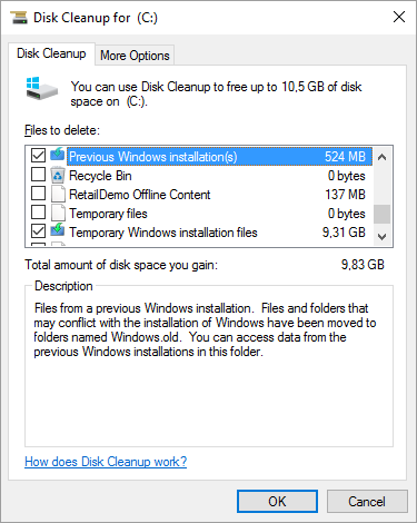 Delete Windows Old