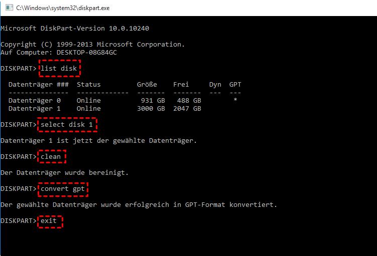 Diskpart konvertiert GPT