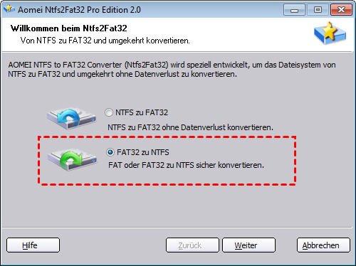 FAT32 zu NTFS