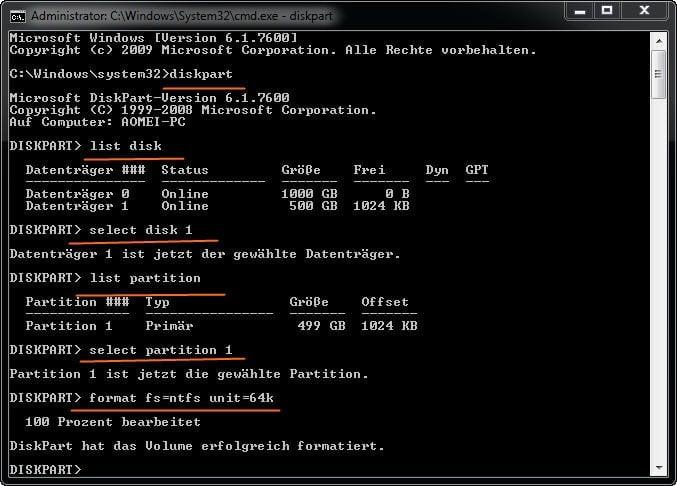 Diskpart ändert die Clustergröße