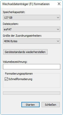 Formatieren im Datei-Explorer