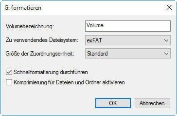 NTFS in exFAT formatieren mit Datenträgerverwaltung