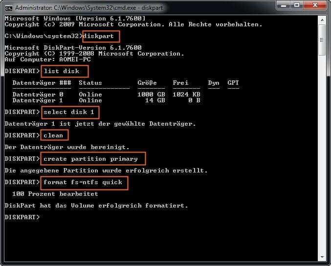 diskpart format usb 32gb