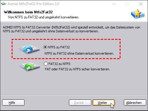 NTFS auf FAT32