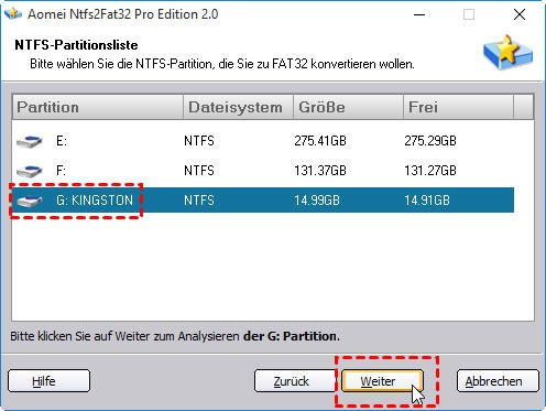 NTFS in FAT32 umwandeln