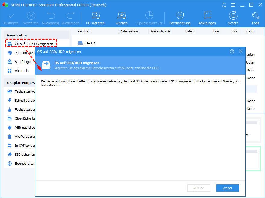 OS auf SSD migrieren