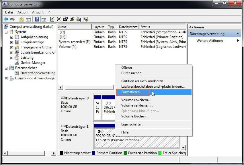 partition formatieren