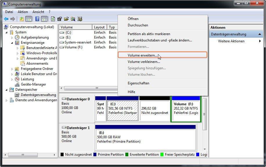 Volume erweitern in Datenträgerverwaltung