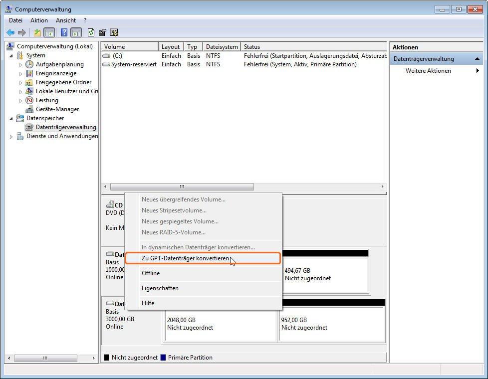 zu GPT Datenträger konvertieren