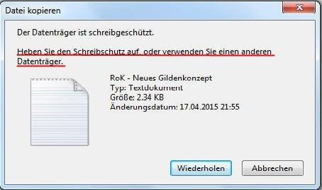 Der Datenträger ist schreibgeschützt