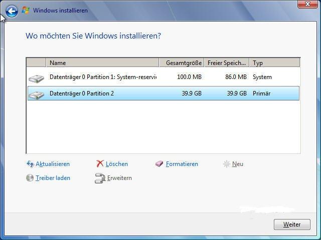Wo möchten Sie Windows intallieren