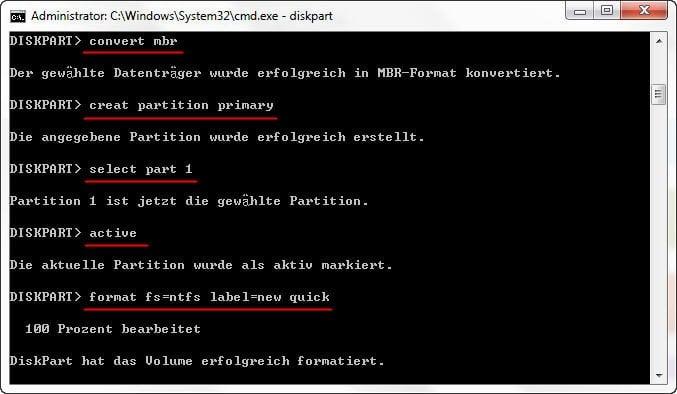 RAW zu NTFS 2