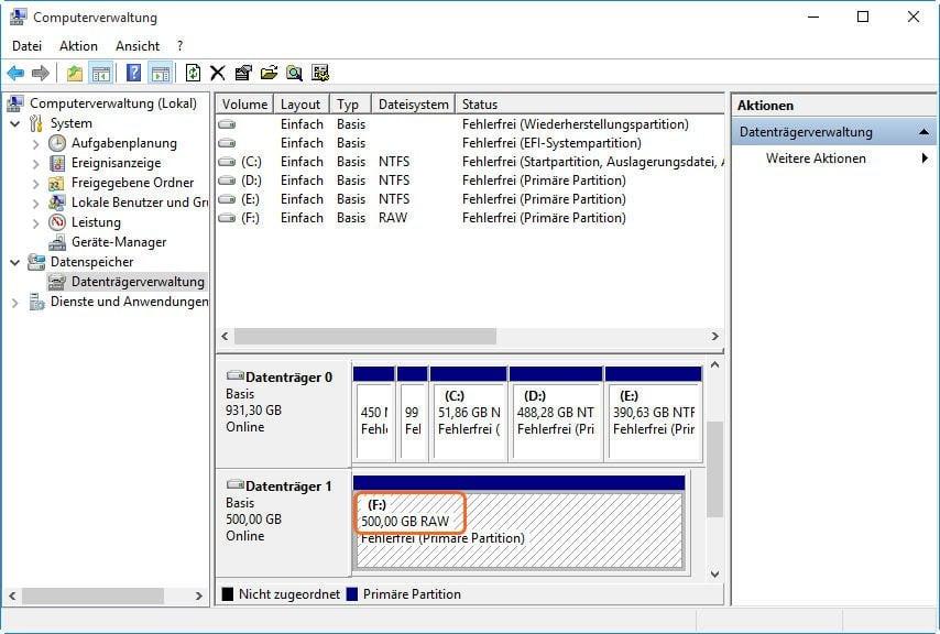 externe Festplatte RAW