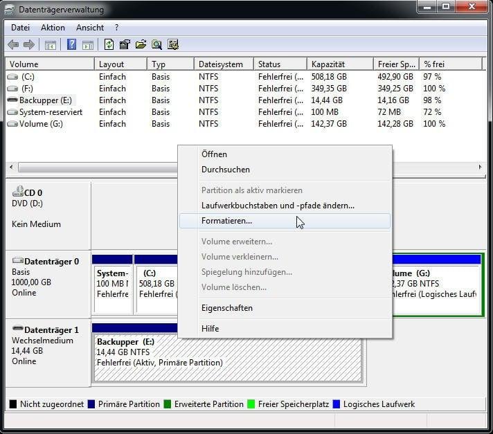 Datenträgerverwaltung formatiert USB