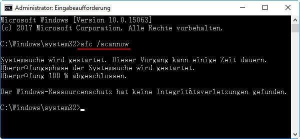 Der Windows-Ressourcenschutz hat keine Integritätsverletzungen gefunden