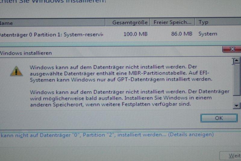Windows Kann Nicht Installiert Werden Gpt Partitionsstil