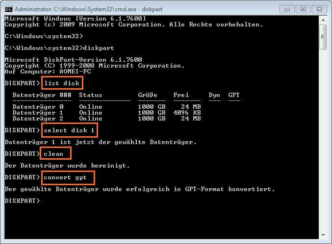 GPT Diskpart konvertieren