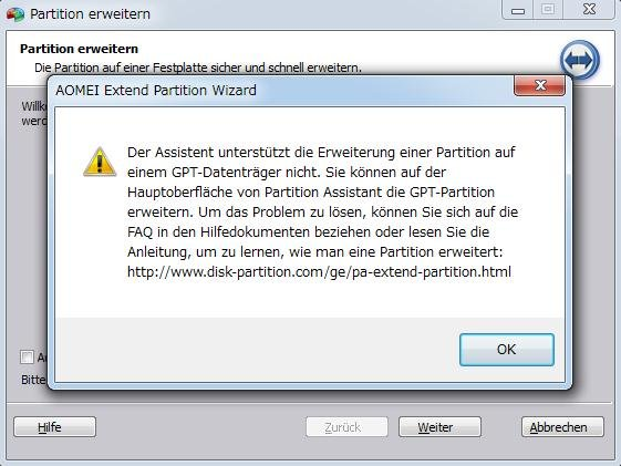 Can't extend FAT32 partition