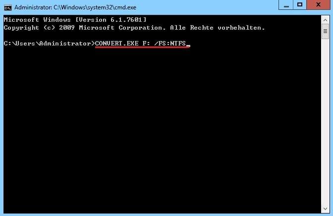 FAT32 zu NTFS mit Convert.exe konvertieren