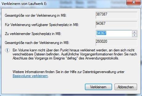 NTFS-Partition verkleinern