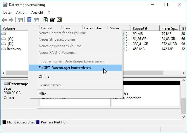 Zu GPT konvertieren mit Datenträgerverwaltung