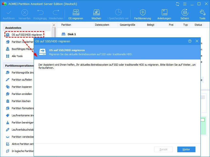 OS auf SSD/HDD migrieren