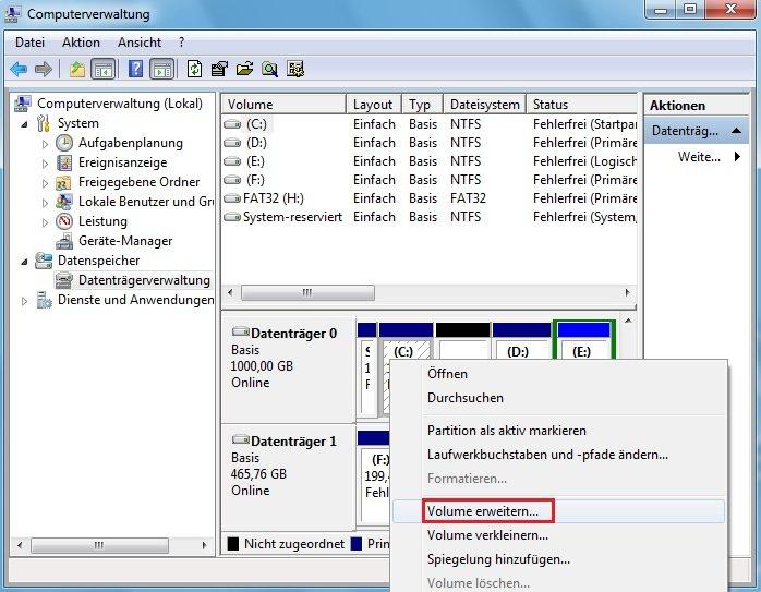 Volume erweitern mit Datenträgerverwaltung
