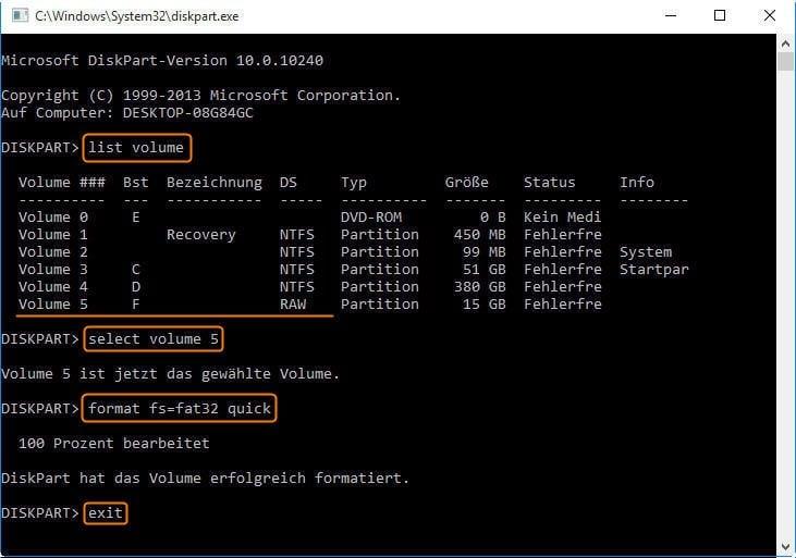 RAW-Laufwerke mit Diskpart formatieren