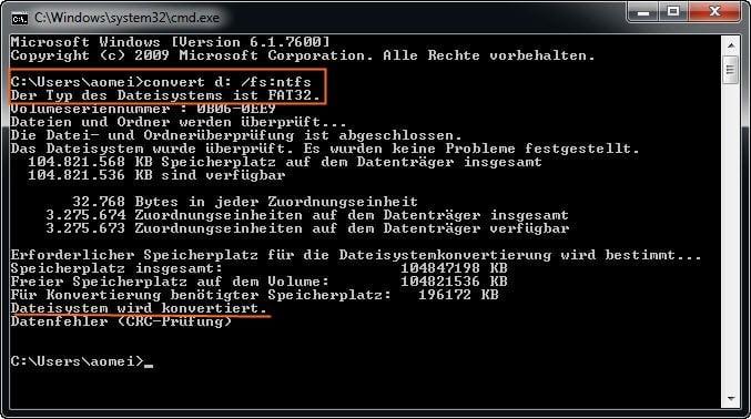 FAT32 in NTFS konvertieren