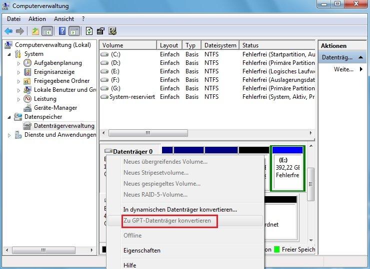 Zu GPT-Datenträger konvertieren ausgegraut