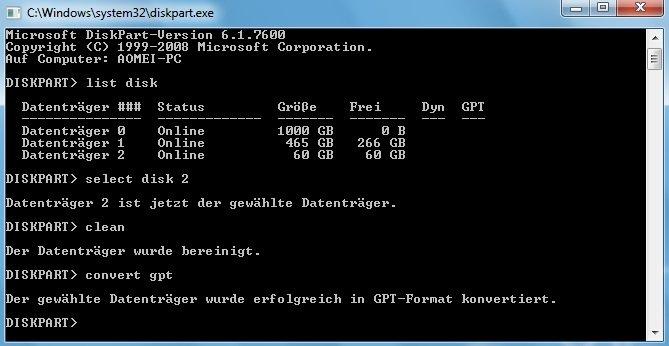 Zu GPT-Datenträger konvertieren mit Diskpart