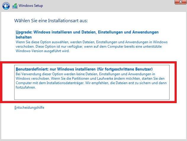 Benutzerdefiniert: nur Windows installieren