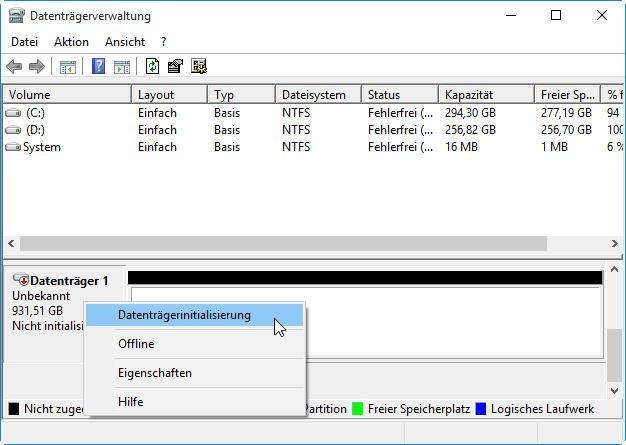 Datenträgerinitialisierung