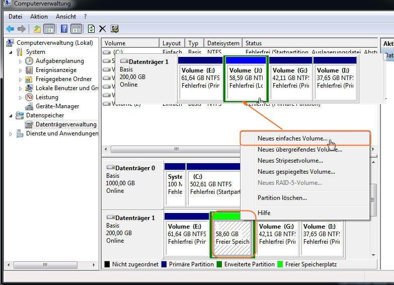 Logisches Laufwerk in Datenträgerverwaltung erstellen