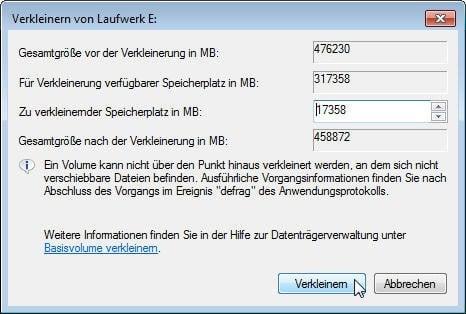 Festplattendienstprogramm partitionieren ausgegraut