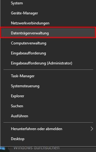 Open Disk Management Windows 10