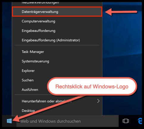 Windows 10 Datenträgerverwaltung öffnen