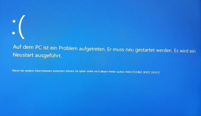 Wie kann man Windows 10 Fehler INACCESSIBLE_BOOT_DEVICE beheben?