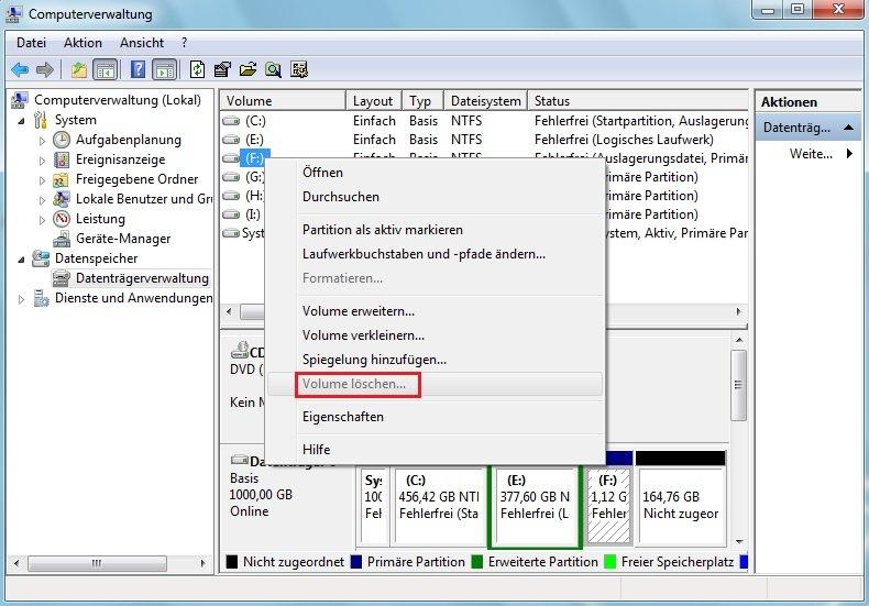 Partition F enthält die Page-Datei