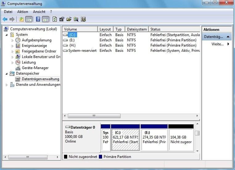 Datenträgerverwaltung Win 7