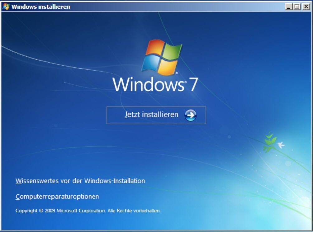 Windows 7 installieren