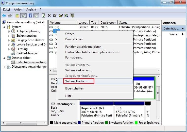 Win7 Systempartition Vergrößern