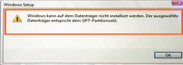 Der ausgewählte Datenträger ist GPT