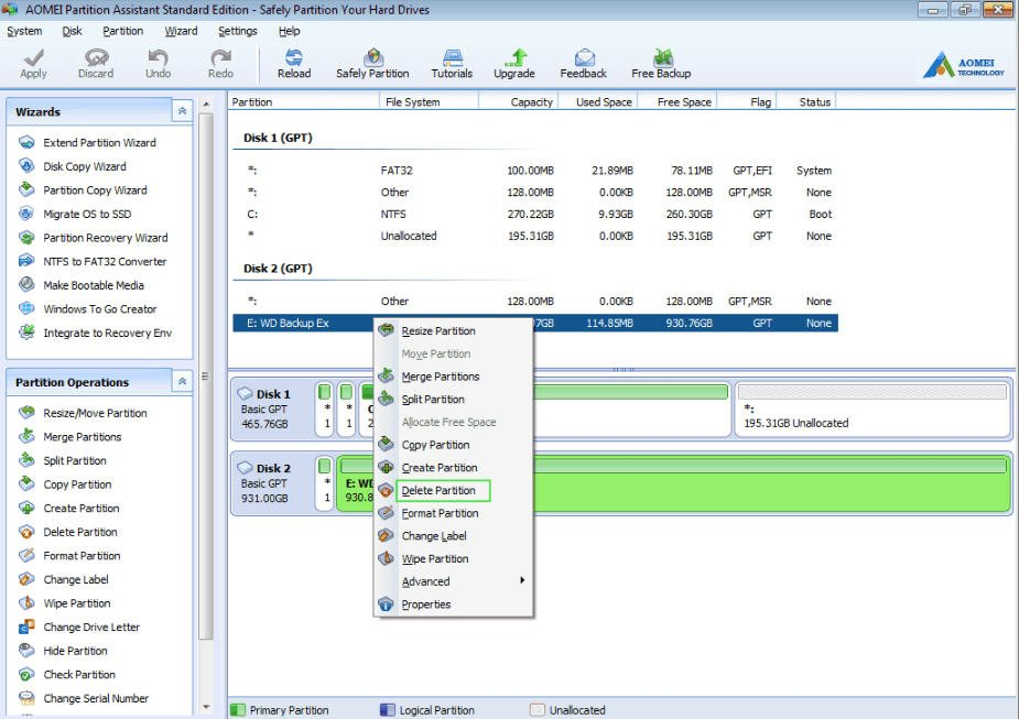how to forcefully delete disk partitions