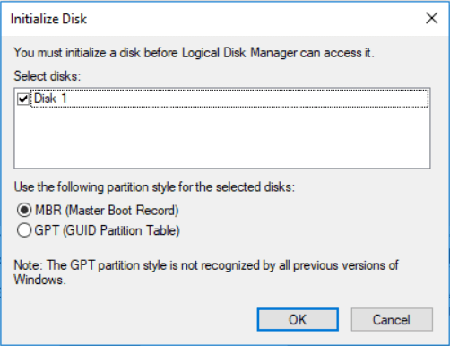 Initialize MBR or GPT