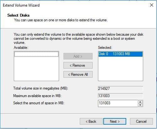 Extend Volume Wizard Select Disks