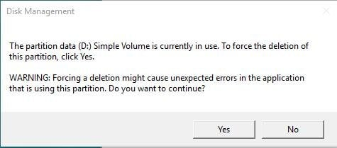Force Delete Volume Warning