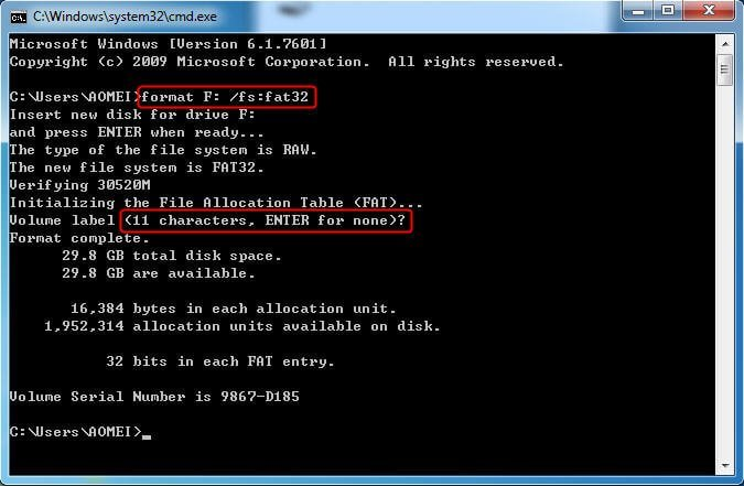 Format RAW to FAT32 CMD